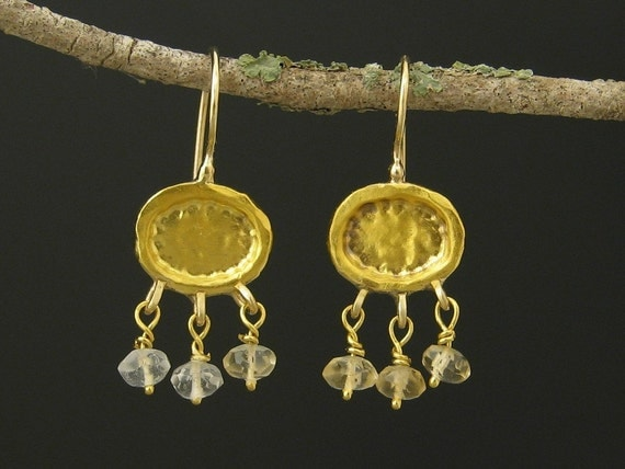 24k Gold Earrings with Dangled Citrine Beads