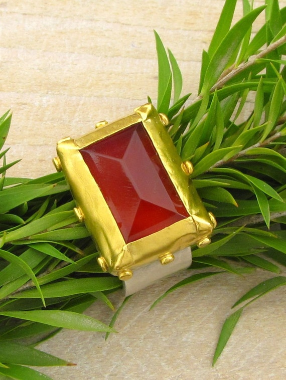 Deep red rectangular  ring of Carnelian  wrapped with 24k gold bezel,  sterling silver  band - FREE SHIPPING