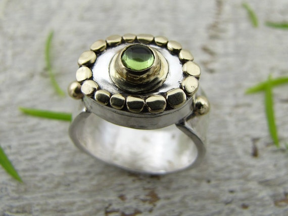 Tourmaline  Ring , Oval 14k Gold & Sterling Silver Ring , OOAK Ring