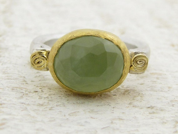 New Jade Ring, 24k gold & Sterling silver ring