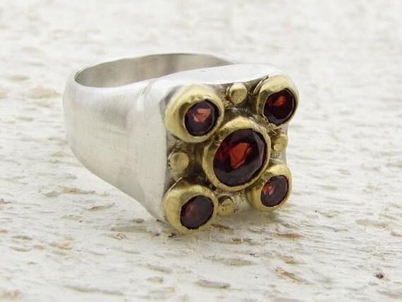 Garnets Gold Ring, 24k Gold & Silver Ring Cocktail Ring, Statment Ring, Gemstone Ring