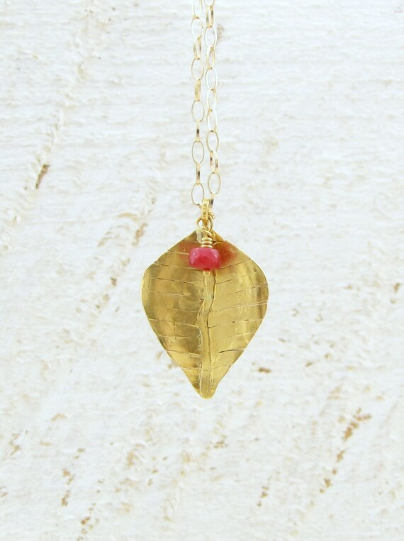 22k Solid  Gold  Pendant with Red Ruby Bead - Gold Leaf Pendant