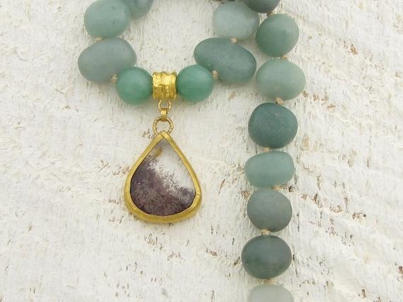 Avanturine & Rutile Necklace , 24k Pure Gold Necklace, Statement Necklace