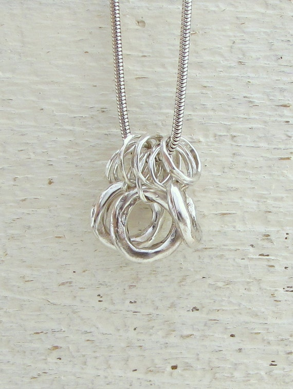 Silver Loops Necklace, Sterling Silver Rings Necklace