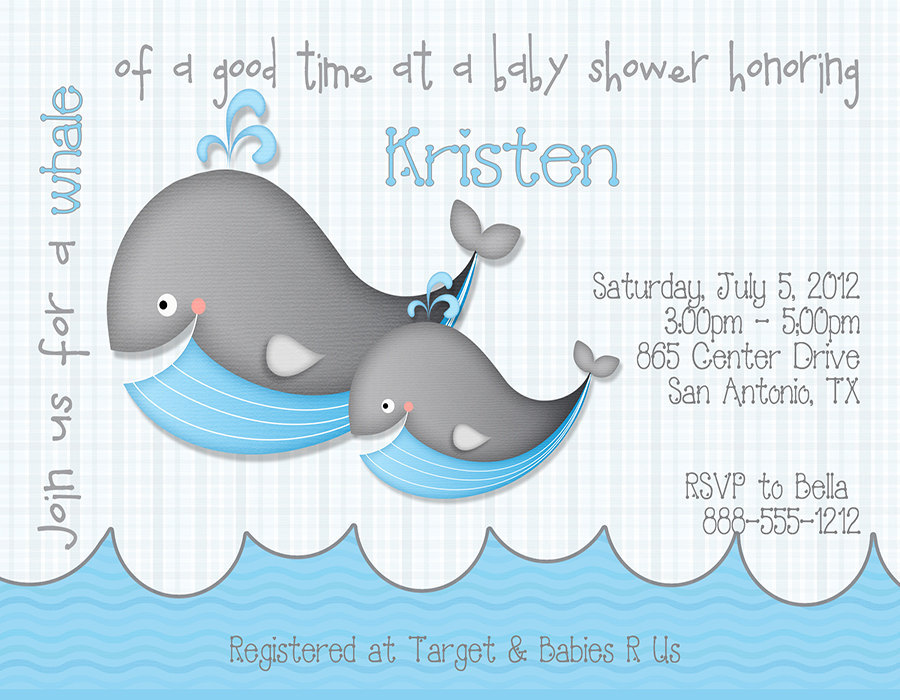 items similar to whale baby shower invitations qty 10 on etsy
