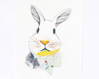 Rabbit portrait - animal print  - nursery art print - wall decor
