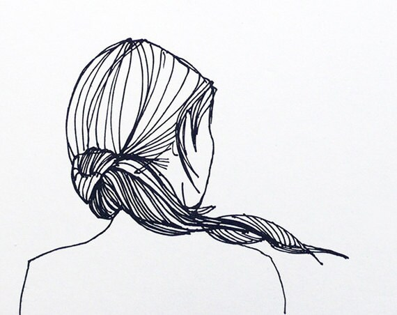 Line Drawing Etsy : Ponytail girl print