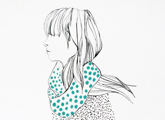 Girl with dotty scarf -  Art print - Illustration print - Girl illustration wall art