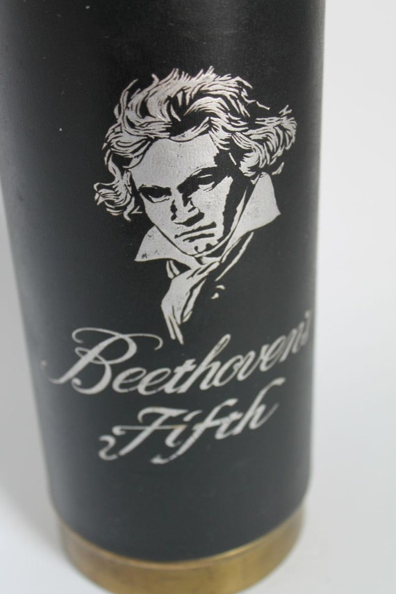 Beethoven Fifth Black Glass MUSICAL Decanter Bottle