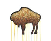 Buffalo Drawing - 8 by 10 brown wildlife nature art - print of pastel painting