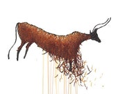 Lascaux Cow Drawing - 8 by 10 orange historical cave art - print of pastel painting