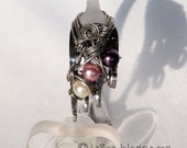 Purple-pink fork bracelet with stainless steel