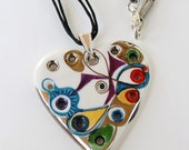 Marvelous Porcelain Heart with 12 holes is Charming, Miraculous,Lovely and Magic, OOAK