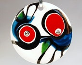 Interesting and Catchy Porcelain Pendant with Red, Blue and Green Ceramic Colors One Of A Kind