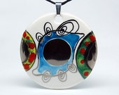 Abstract Beautiful Eye Round Porcelain Art Pendant OOAK