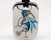Blue Abstract Bird Porcelain Pendant One-Of-A-Kind
