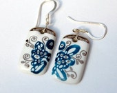 Marvelous Porcelain Earings With Sterling Silver French Hook  Ear wires, One-of-a-kind