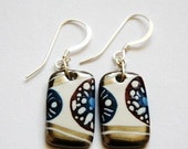 Beautiful Porcelain Earrings With Sterling Silver French Hook  Ear wires, One-of-a-kind