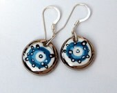 Unique Porcelain Earrings With Sterling Silver French Hook  Ear wires, One-of-a-kind