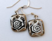 Marvelous Square Porcelain Earrings With Sterling Silver French Hook  Ear wires, One-of-a-kind