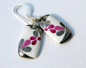 Elegant Porcelain Earrings With Sterling Silver French Hook  Ear wires, One-of-a-kind