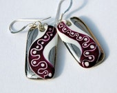 Very Stylish Purple Porcelain Earrings With Sterling Silver French Hook  Ear wires, One-of-a-kind