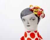 cloth doll- handmade bead doll Wearing red polka dots dress &  Unique yellow red and white blossoms