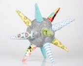 colorful funky light gray ball or Star all handmade in Green, yellow,light blue and  turquoise striped Floral & polka dots