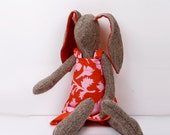knitted silk Rabbit With red ears & red pink  Roses flowers Dress-handmade fabric doll