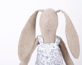 bunny-Natural Canvas rabbit doll in Bright colors  Wearing  Blue and White Floral dress  -handmade fabric doll