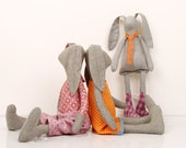boutiqe Light Gray rabbit Family in Orange and Purple  Wearing  Checkered , stripes dotted Clothes  -handmade fabric doll