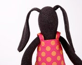 Reserved for Dalia African  Soft bunny Wearing  Fuchsia pink With orange polka dots Dress  -handmade fabric doll