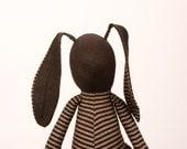 Dark rabbit in brown stripes Shirt Wearing brown corduroy trousers - handmade fabric doll