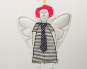 Cupid - Black and white Modern Angel In  neon pink hair Wearing a striped dress and a polka dot tie - handmade fabric Wall art  doll