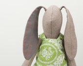 Spring Rabbit - Beige  Natural wool bunny With purple ears Wearing flowery green dress and striped pants Under - handmade fabric doll