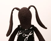 African Easter bunny , Dark Soft bunny Wearing  Black dress with white scissors Print  -handmade fabric doll