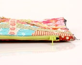 pencil case back to school zipper pouch - Recycled  Colorful scraps from the studio With Neon green   zipper-Timo Handmade