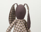 Easter Bunny - African  Brown Rabbit  doll -  Wearing Checkered shirt and   Brown  Corduroy, handmade cloth doll