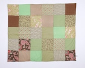 Baby carriage - Small simple Patchwork blanket in  Pink , Brown and green flowery ,Spotted and striped Newborn blanket