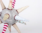 cloth ball - funky light gray ball or Star all handmade in Beige ,Bright Blue,maroon striped Floral & polka dots