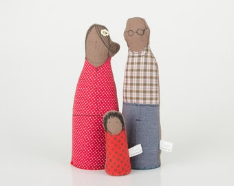 Wedding Decor ,African Family - mother , Father and a little daughter Dressed in red and Blue, plaid and dotted -  custom dolls are welcome