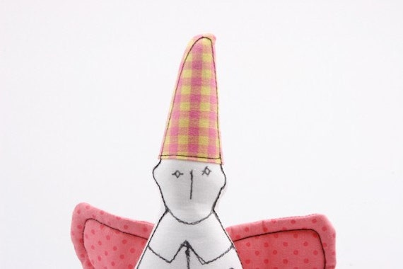Guardian angel with pink wings and yellow plaid hat - handmade fabric doll