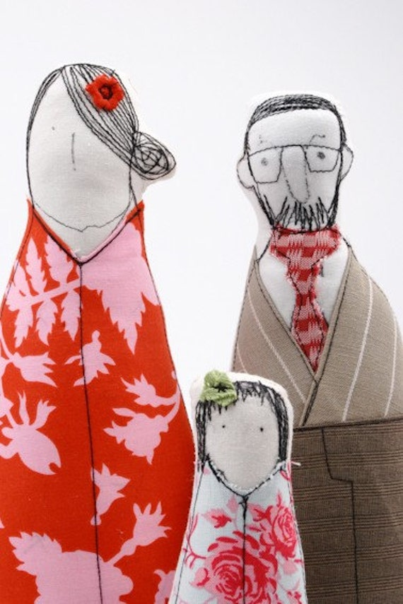 Mother father and daughter handmade dolls