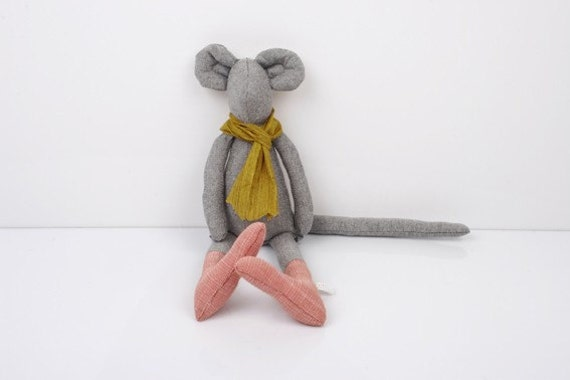 Light Gray Mouse Wearing Coral pink socks and  Mustard scarf handmade fabric doll
