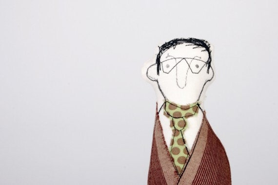 handmade fabric doll in Purple green and brown Wearing glasses and a tie-you sure know someone like that guy