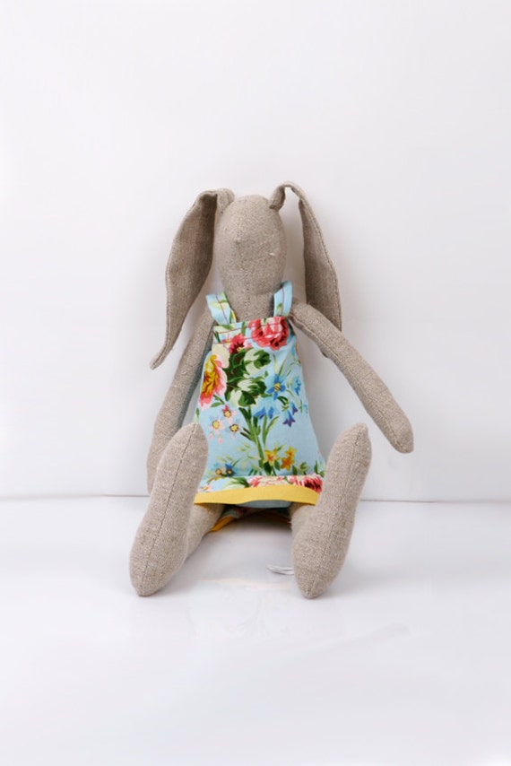 Easter Bunny - Light Natural canvas rabbit- dressed in light blue dress With  floral-print handmade fabric doll