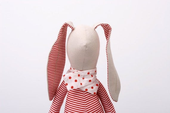 Bright rabbit in White & red stripes Shirt Wearing Dotted red corduroy pants and  A scarf- handmade doll