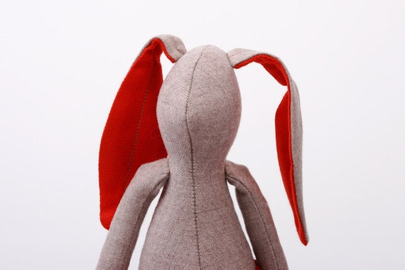 Natural wool rabbit With red ears Wearing corduroy pants  -handmade doll free shipping
