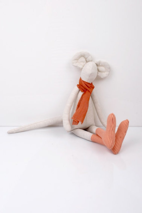 Mouse Wearing Peach With stripes socks and Orange scarf - handmade Bright  fabric doll
