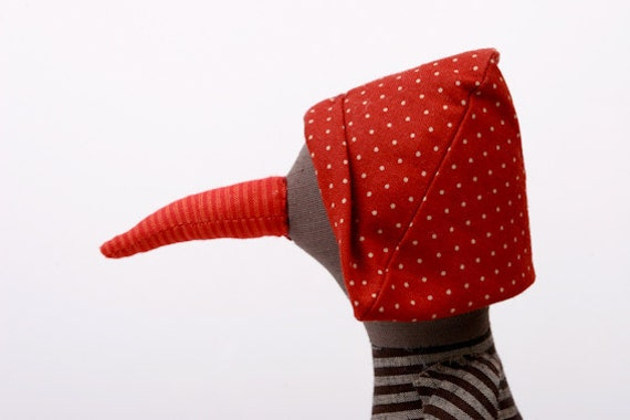 cloth bird  With red hat Dotted , Wearing brown stripes Shirt &corduroy trousers -handmade doll